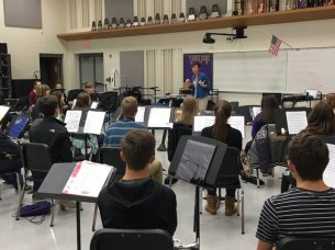 """Photo of Timber Creek Band students learning """"Soundpainting"""" with guest artist Leese Walker. (Photo courtesy of Blake Wilson.)"""