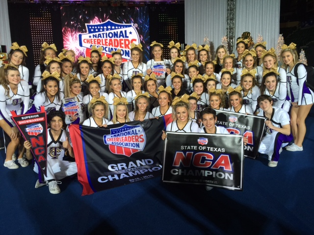Timber Creek Advanced Co-Ed Cheerleaders after winning Grand Champion in the NCA State of Texas Championships on Dec. 6, 2015.