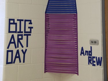 TCHS Art teacher Jennifer Thompson had students tape perspective drawings on the walls of the art hallway for Big Art Day 2016. (Photo by Carson Watzke.)