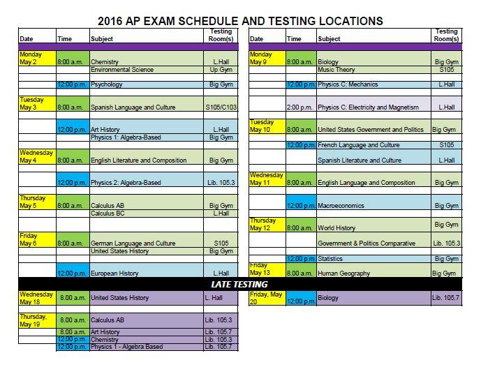 2016 ap testing schedule