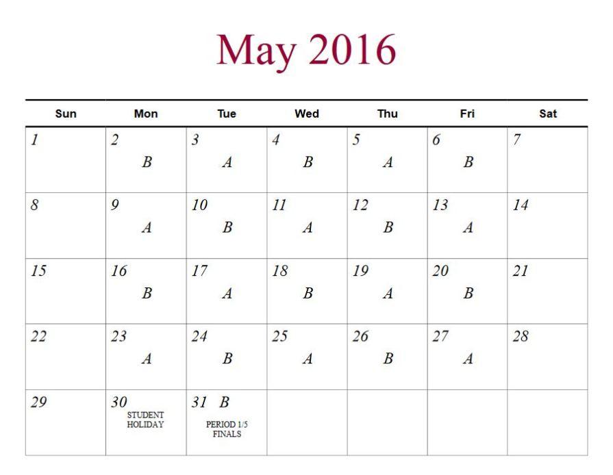 may 2016 a b
