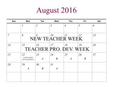 Calendar for the 2016-17 school year.