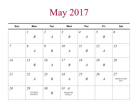 Calendar for the 2016-17 school year.