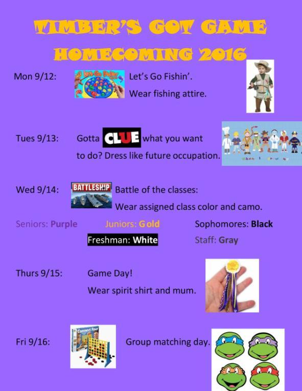 Calendar Dress Up Ideas : Dress up days for homecoming week timber creek talon