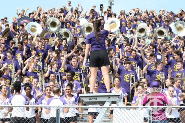 The Timber Creek Band performs in the stands during the Sept. 2, 2017 home opener. (Photo by Yearbook Editor Taylor Deker.)