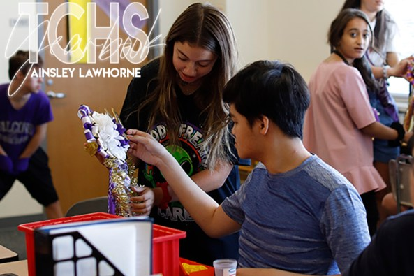 Each year the Timber Creek PTSA volunteers create and donate mums for special TCHS students. See photos from the Sept. 12, 2019 delivery in this gallery. (Photos by The Creek Yearbook photographer Ainsley Lawhorne.)