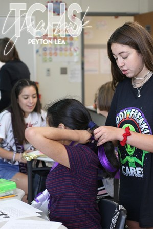 Each year the Timber Creek PTSA volunteers create and donate mums for special TCHS students. See photos from the Sept. 12, 2019 delivery in this gallery. (Photos by The Creek Yearbook photographer Peyton Lea.)