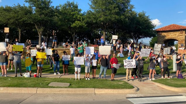A wide shot view of the Alliance Town Center Protests.