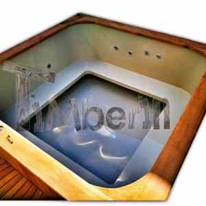 Rectangular wood fired outdoor hot tub with whirlpool function