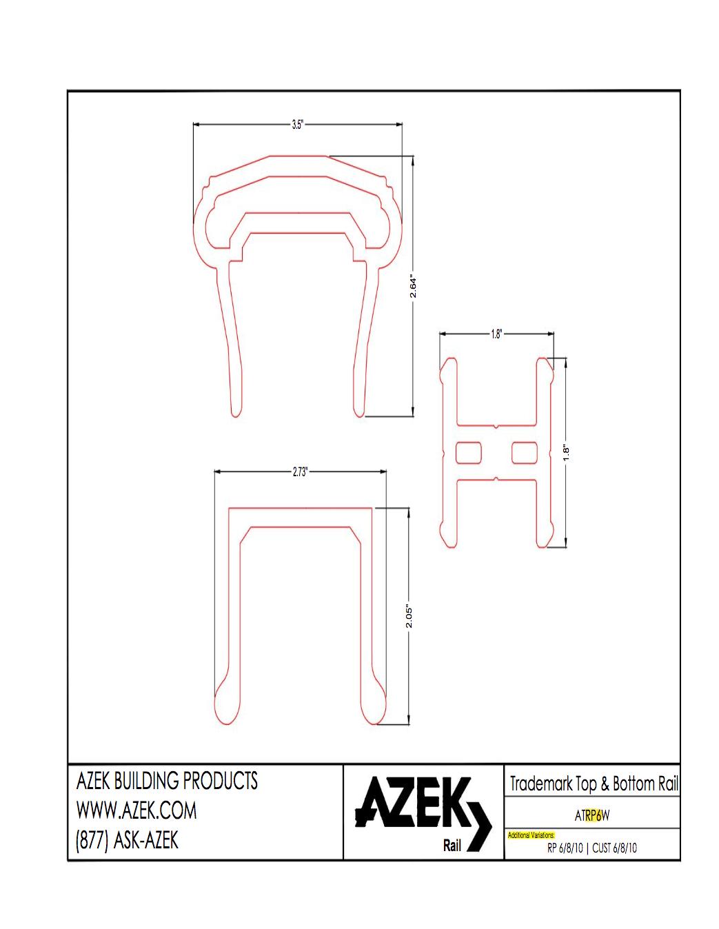 Azek Trademark Rail Specifications