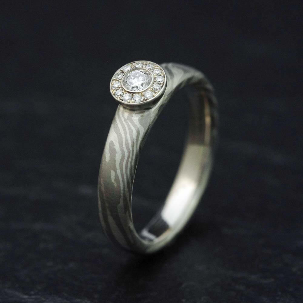 Halo-Diamantring - aus Mokume Gane