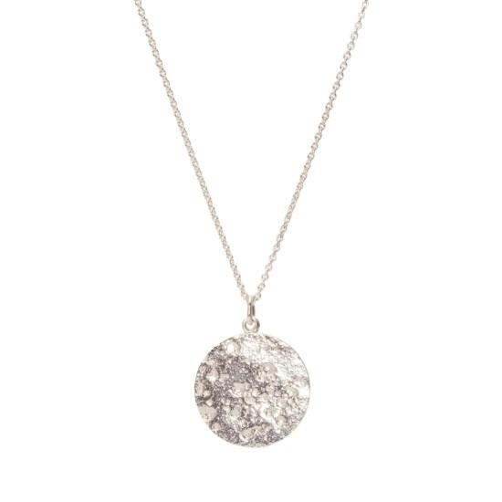 Zarter Halskette mit Kreis-Anhänger »Mond« aus 925er Silber handgefertigt