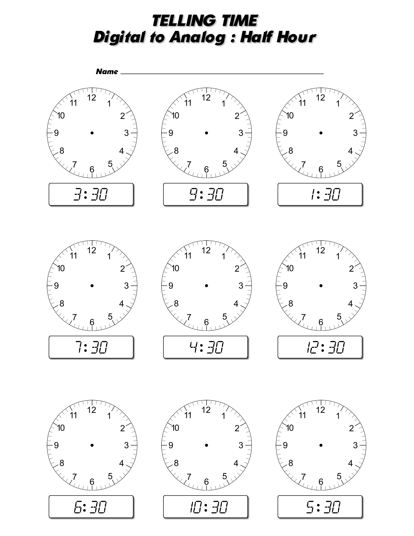 Worksheet Telling Time To The Half Hour Worksheets Grass
