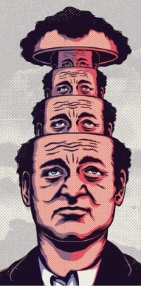 Poster for Groundhog Day with heads