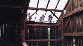 Historic Prenner barn being dismantled.