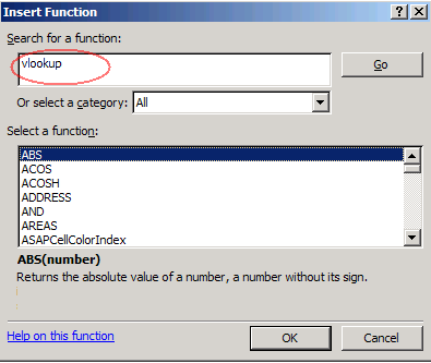 Excel Insert Function dialog