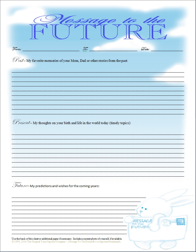 Baby Time Capsule Message To The Future