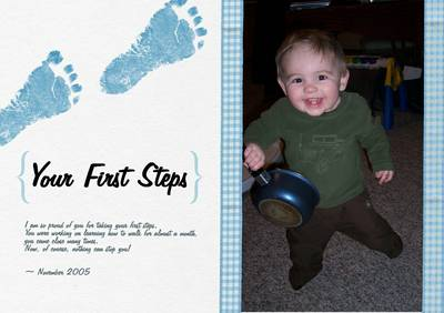 Baby's First Steps for Baby time capsule