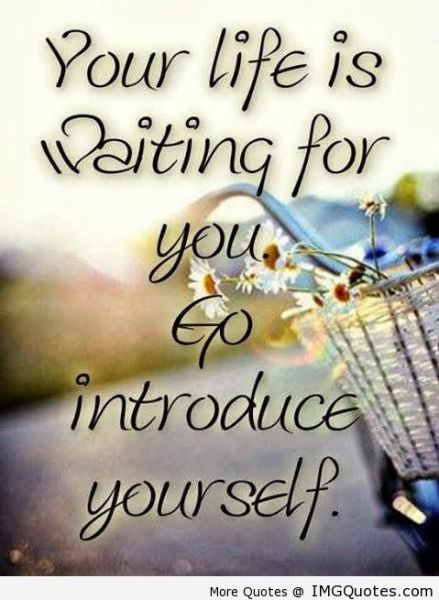 Your life is waiting for you. Go introduce yourself. Quote