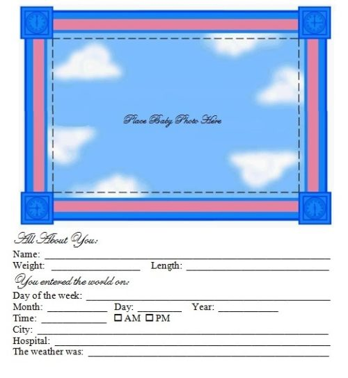 Baby Time Capsule - Profile Book Page
