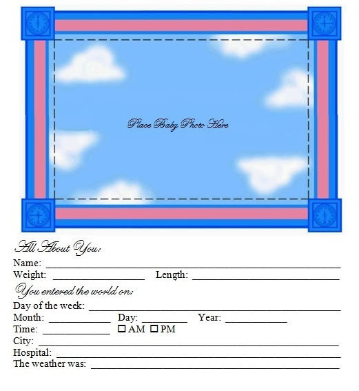 Baby Profile Book Page
