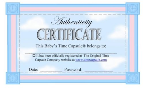 baby time capsule - Certificate Of Authenticity