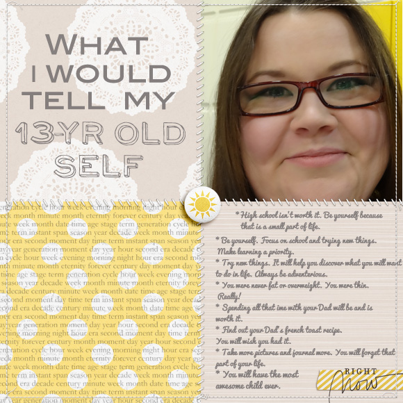 Tell Your Younger Self Something - Scrapbook Page
