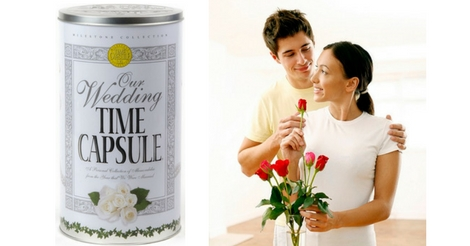 Couple with Roses and Wedding Time Capsule