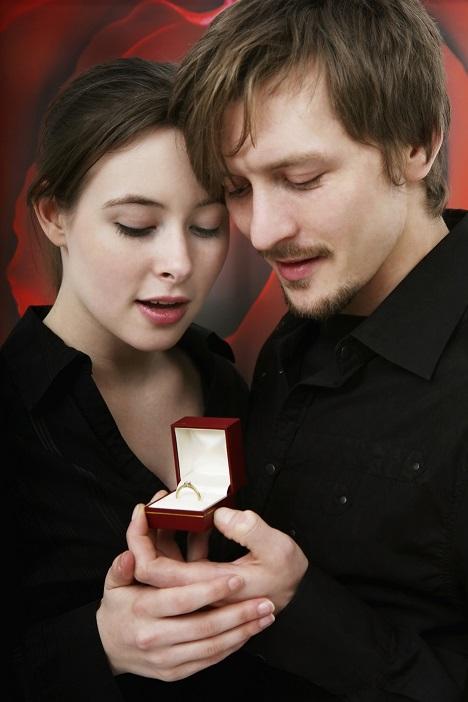 Wedding Ring Shopping - Man and woman looking at engagement ring