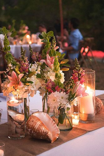 Beautiful Wedding Decoration Tips - Beach Wedding Vases with Flowers