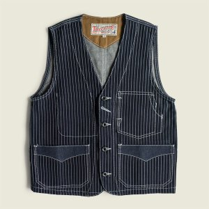 Stifel Indigo Vintage Workwear Wabash Striped Railroad Vest