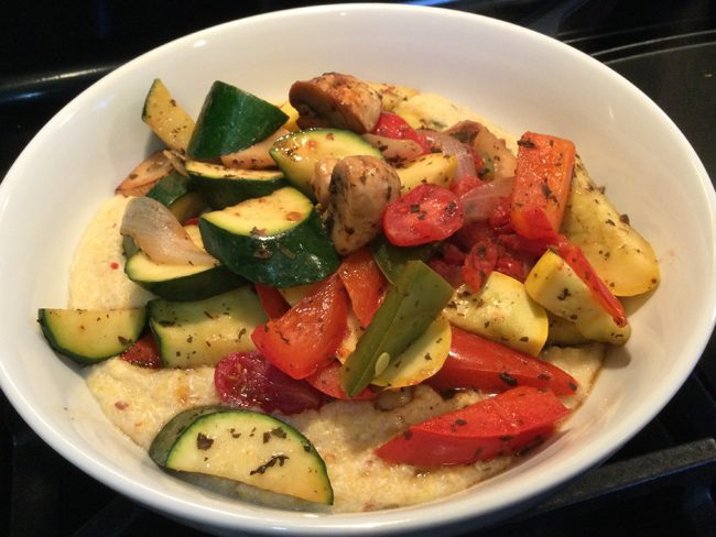 Creamy, Spicy (or not) Polenta with Sautéed Summer Vegetables