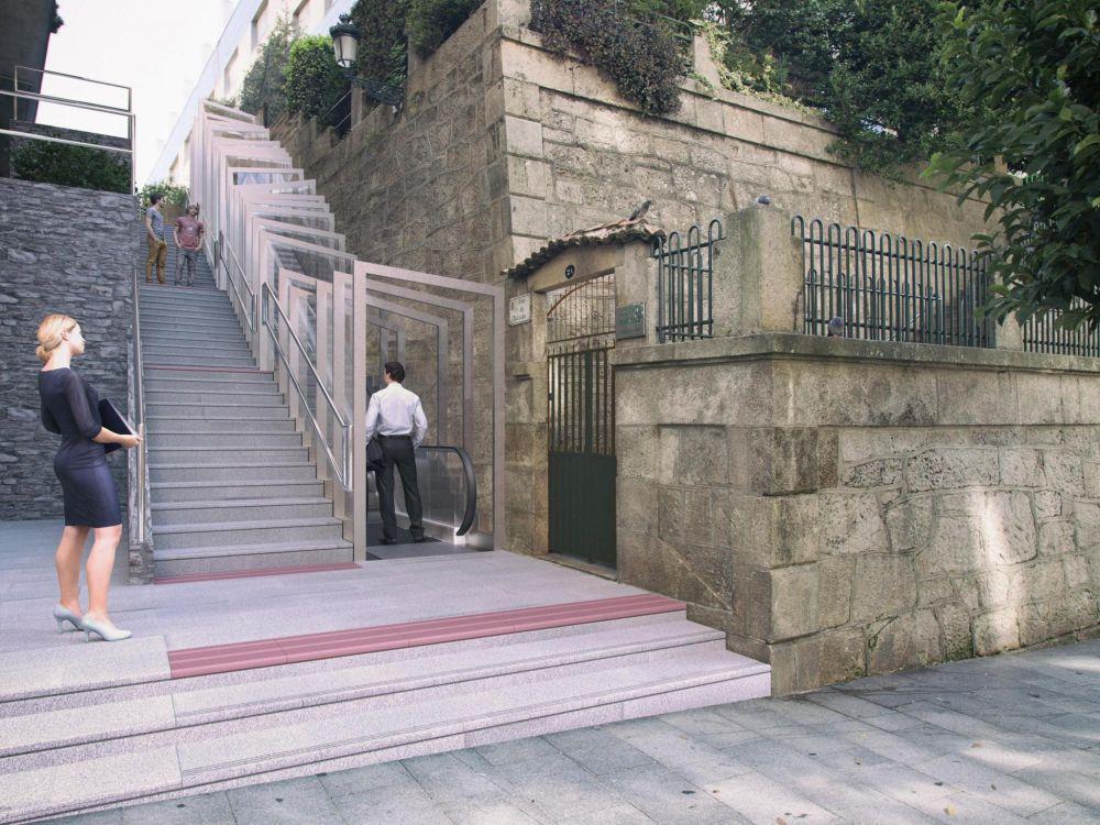 recreación escaleras rúa talude