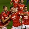Los jugadores del Real Murcia celebran el segundo gol de Alberto Toril