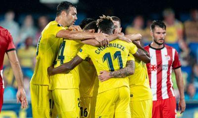 Los jugadores del Villarreal celebran un gol en el partido de ida / Fuente: villarrealcf.es