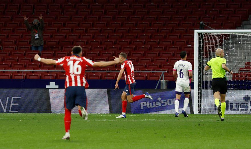 Celebración del Atlético de Madrid tras el segundo gol del partido