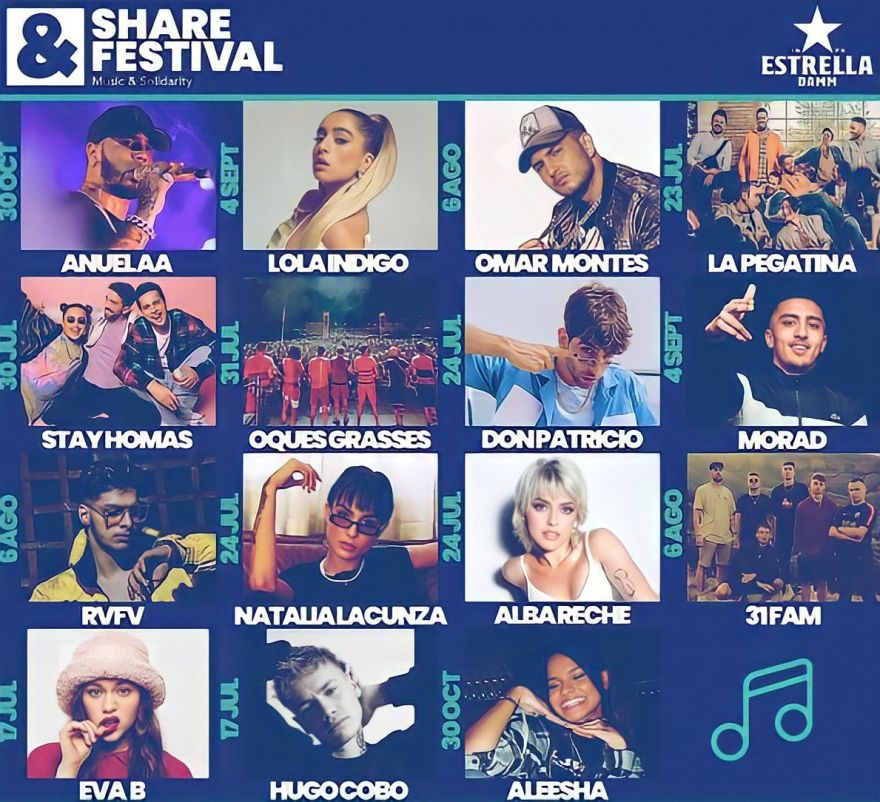 Cartel completo del Share Festival/ Fuente: @sharefestbcn (Instagram)