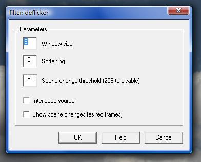 Cuadro de diálogo de la configuración de Deflicker