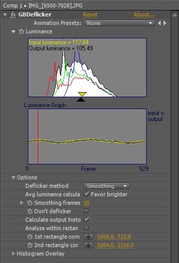 Configuración de GBDeflicker