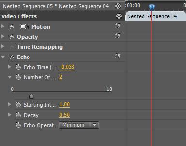 Settings del efecto Echo para una secuencia