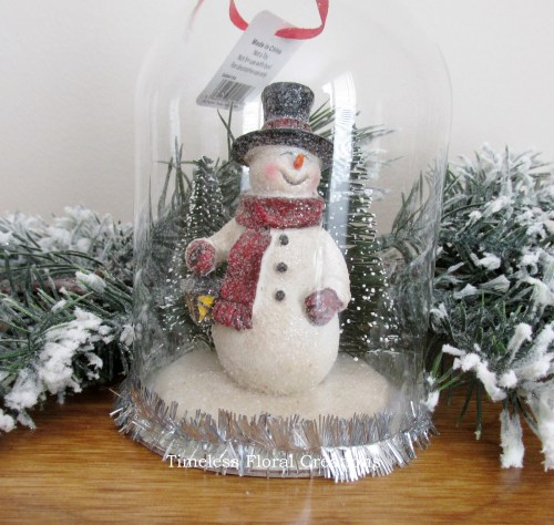 Raz Snowman in a Dome Christmas Ornament