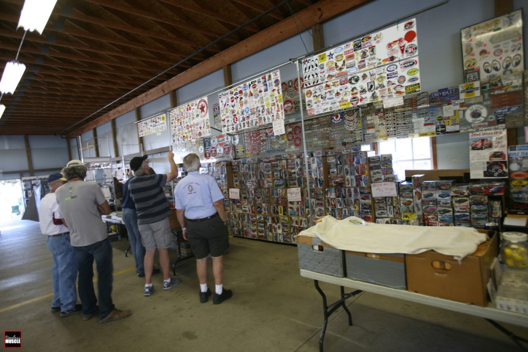 ...and even automotive memorabilia such as decals, die-cast model cars and model kits are just part of the scenery at swap meets.