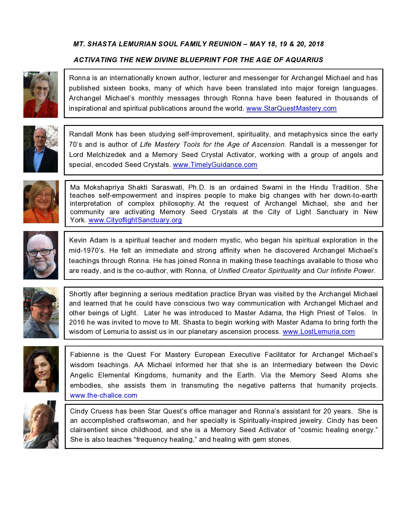 Mt Shasta Event Speakers bios - Timely Guidance