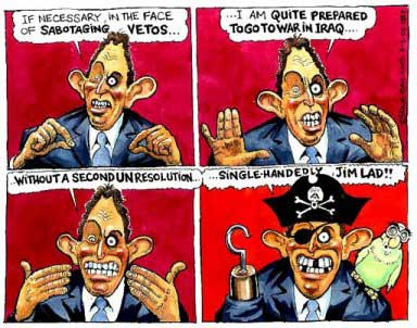 Blair and the Iraq war, cartoon