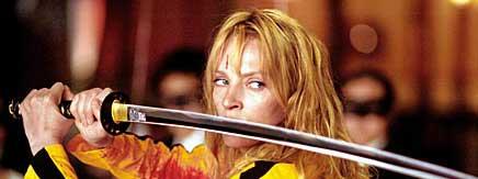 Uma Thurman with a sword