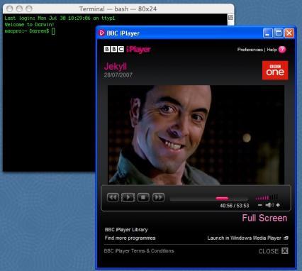 BBC iPlayer running on a Mac