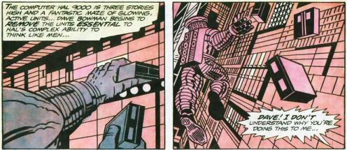panels from Jack Kirby's comic adaptation of 2001