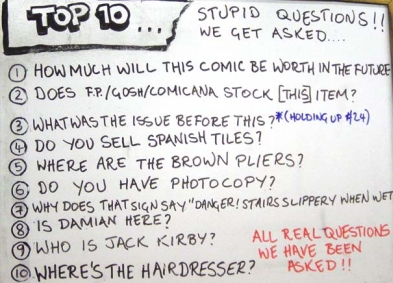 a top 10 list from orbital comics in london