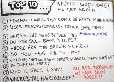 a top 10 list from orbital comics in london