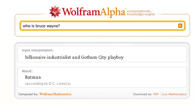 Wolfram Alpha: Who is Bruce Wayne?